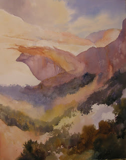 Watercolor painting demonstration step by step of the Great Arch in Zion by Roland Lee