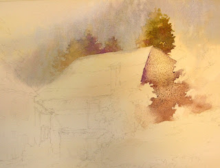 Roland Lee painting demonstration of a watercolor painting of barn in Switzerland