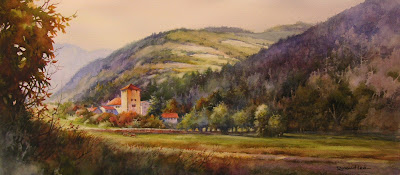 Roland Lee watercolor painting of Schloss Rietberg in Switzerland