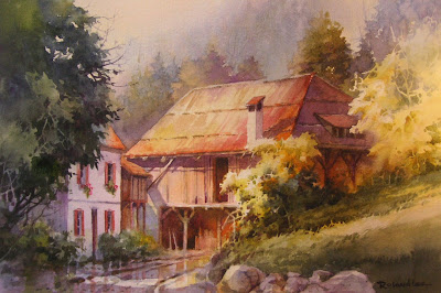 Roland Lee watercolor painting of a barn in Switzerland