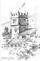Roland Lee sketchbook drawing of St. Andrews Church in Sedbergh, Cumbria, Yorkshire Dales, England