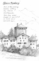 Roland Lee travel sketchbook drawing of castle Rietberg in Switzerland
