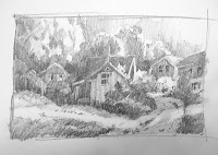 Sketchbook Study for Mountain Village painting by Roland Lee