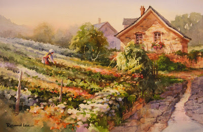 Country Garden - watercolor painting by Roland Lee of a European Garden