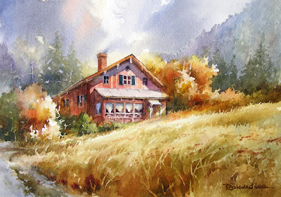 Roland Lee watercolor painting of Swiss Chalet