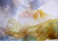 watercolor painting demonstration of swiss Chalet