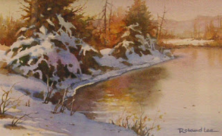 Roland Lee Watercolor painting of utah Snow