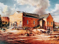 Watercolor painting of the old Pioneer Opera House in St. George, Utah