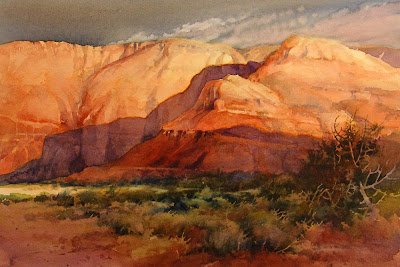 Roland Lee watercolor painting of southern Utah Red Cliffs