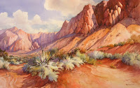 Sagebruch Serenade watercolor painting of red rocks by Roland Lee