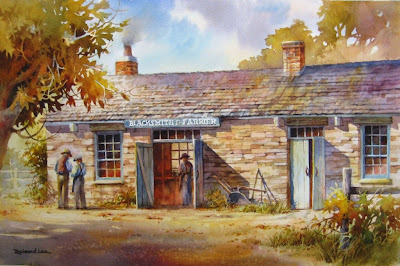 Roland Lee painting of the old Blacksmithe and Farrier shop in Nauvoo Illinois. roland's ancestor Orin Nelson Woodbury worked in this shop