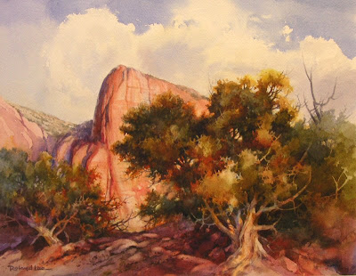 Painting of Kolob Canyons in the Spring Utah Watercolor Society Exhibition by Roland Lee