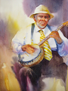 Banjo Player painting juried into the 2008Utah Watercolor Society Spring Exhibition