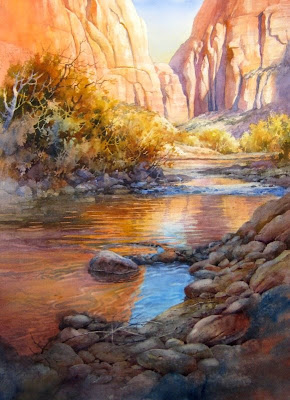 A Patch of blue - Watercolor painting of the Virgin River in Zion Canyon by Roland Lee