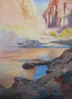 How to paint water reflections demonstration in watercolor by Roland Lee step 3