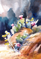 Smalll watercolor demonstration painting done en plein air at the Kayenta Desert Bloom Art Festival