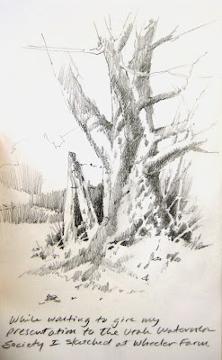 Pencil sketch book drawing by Roland Lee done at Wheeler Farm in Utah