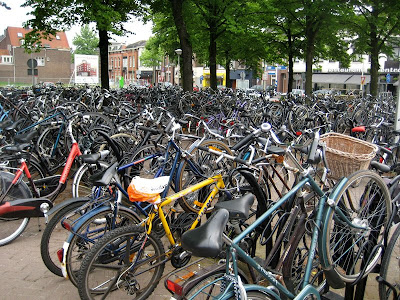 Bicycles parked at Roosendaal Train Station in Holland