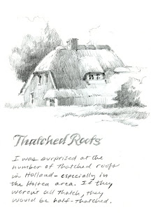 sketchbook drawing study for painting of thatched roof house in Holten Netherlands