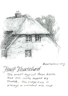 sketchbook drawing study for painting of thatched and tile roof house in the Netherlands