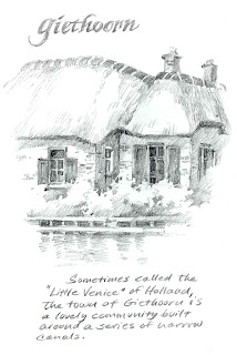 sketchbook drawing study for painting of thatched camelback roof house in Netherlands