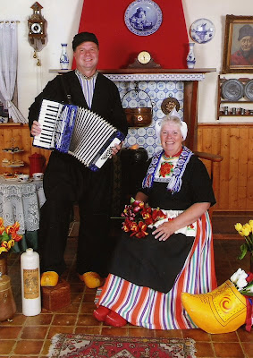 Photo in traditional Dutch clothing in Volendam Netherlands