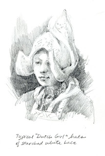 Picture drawing of traditional Dutch Girl Caps in Volendam Museum Netherlands