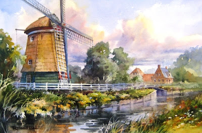 Roland Lee painting of Dutch windmill in Edam Netherlands