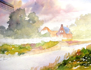 Watercolor painting technique used in painting Dutch windmill in Holland