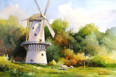 Roland Lee watercolor painting of the Stellingmolen at the Open Lucht Museum in Arnhem Netherlands