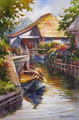 Watercolor painting of Giethoorn Holland canal
