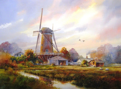Watercolor paintin of Dutch windmill in Zeeland holland