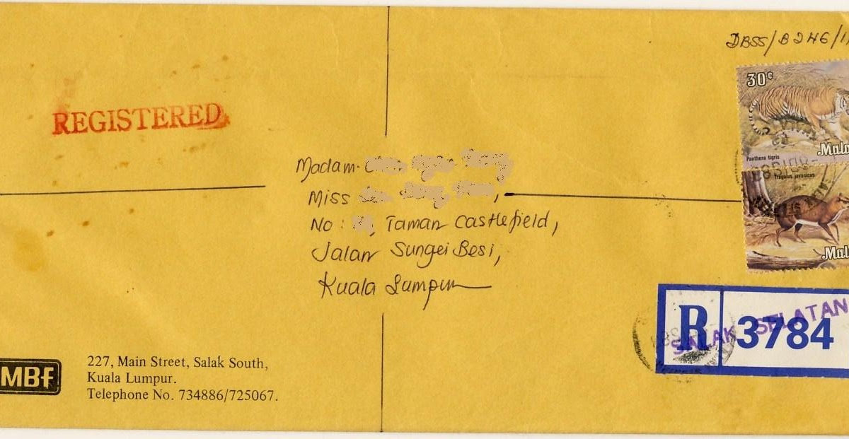 Airmail Labels Collection Registered Letter Malaysia 1983