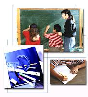 composición de tres fotografías: en una un profesor y ds estudiantes escribiendo en una pizarra, en la segunda reglas y escuadras, en la tercera, un niño escribiendo en un cuaderno