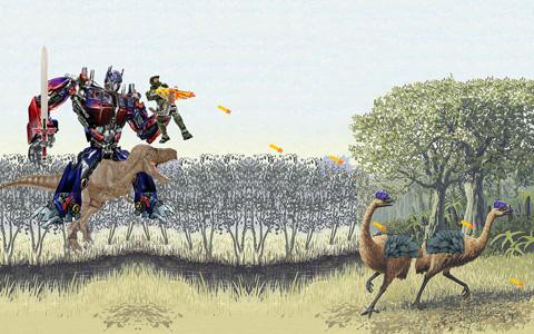 optimus prime master chief riding a dinosaur shooting at moa