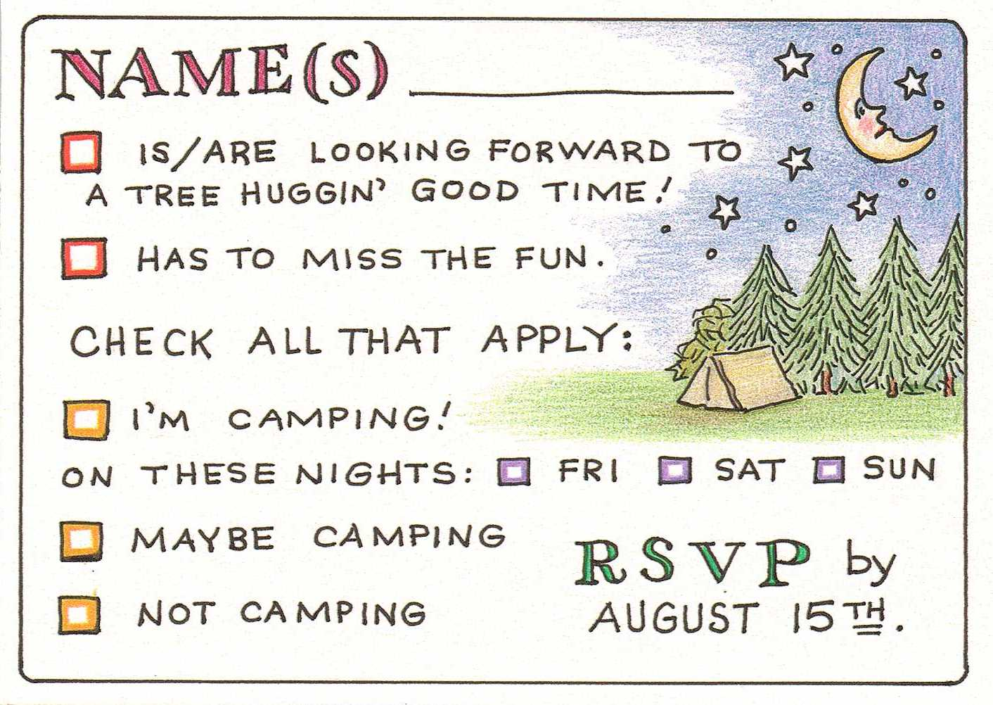 Camping Wedding Invitations: Phases Of The Moonblossom: Wedding Invitations