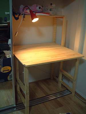 foldable computer desk in wardrobe