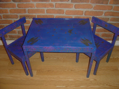 Childrens Furniture Amish Child Wooden Table Chair