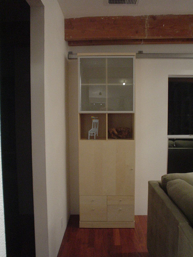 bookcase sliding door close