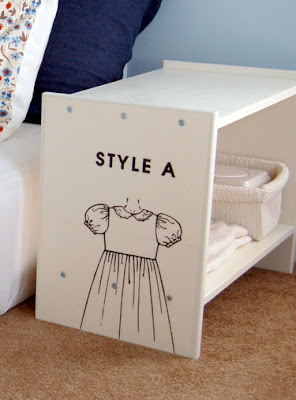 vintage style children bedside table close up