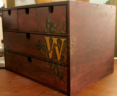 monogrammed mini storage chest side
