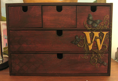 monogrammed mini storage chest front