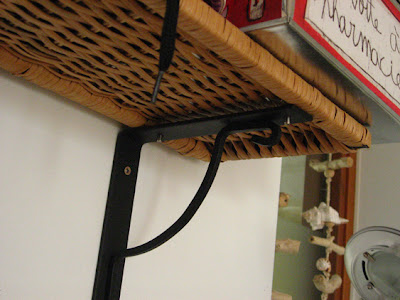 rattan shelves close up