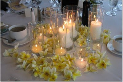wedding centerpiece with plumeria