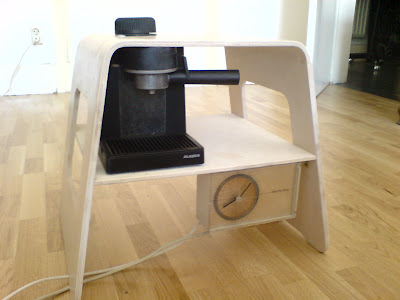 bedside table with coffee maker