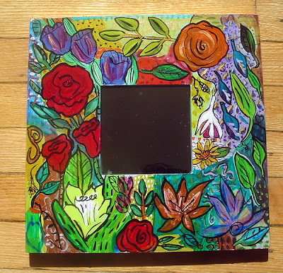 painted flower mirror
