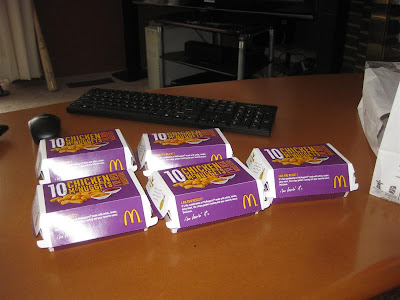 Mc Donalds 50 piece nuggets, mc nuggets, 10 piece boxes, 10 dollars