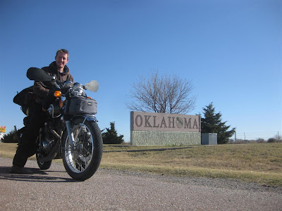oklahoma state sign, motorcycle trip, cross country