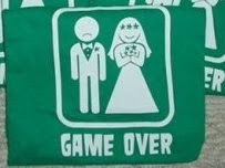 game over t-shirt featuring happy bride and miserable groom