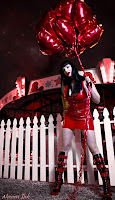 Goth Girl in red with ballons